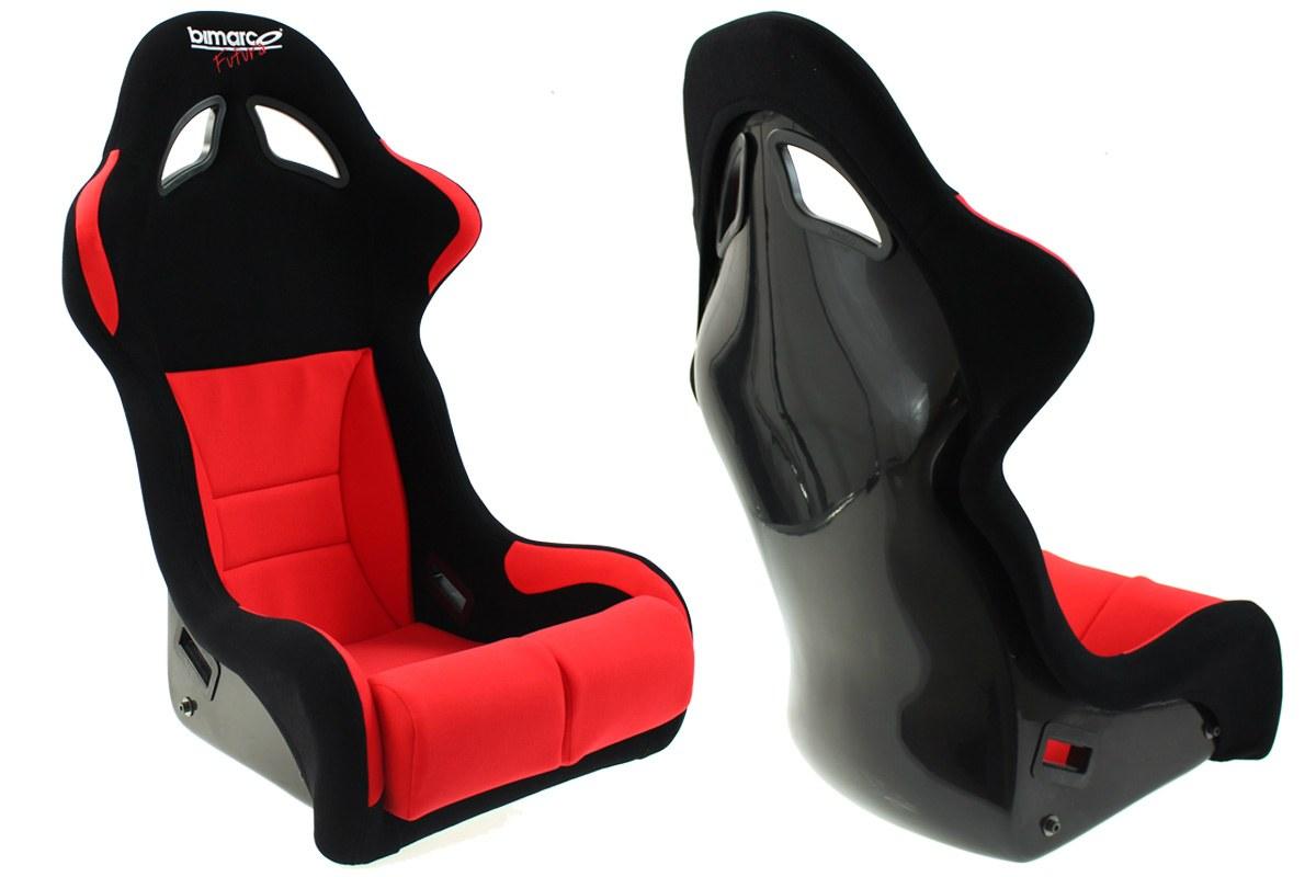 Fotel Sportowy Bimarco Futura Welur Black/Red FIA - GRUBYGARAGE - Sklep Tuningowy